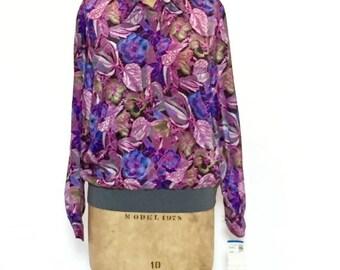 ON SALE 80s Floral Bomber Jacket: Silk Scarf Jacket / Floral Bomber Jacket / Silky Bomber Jacket / 80s Bomber / Floral Windbreaker / 80s Sil