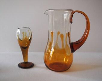 Hand Blown Art Glass Pitcher and Glass
