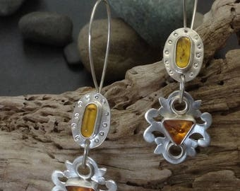 Two piece golden yellow amber hanging earrings, solid handcrafted sterling silver setting, bezel set stones, one of a kind, catch at back