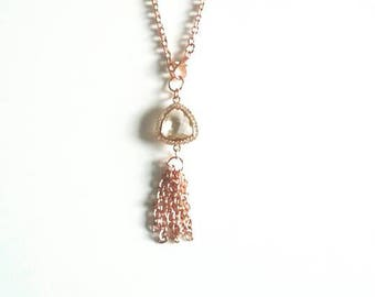 Rose Gold Tassel Crystal Pendant