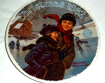 Knowles Norman Rockwell Collectors' Plate Christmas Courtship - 1982 Limited Edition Christmas Plate