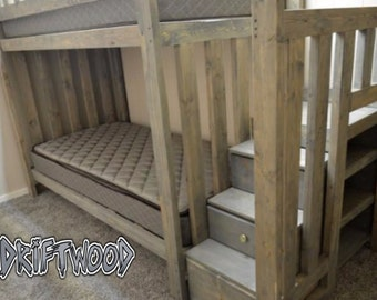 Driftwood bunkbed, twin bunkbed, extra strong wood bed, heavy duty bunk bed for teens and kids, with staircase dresser, drawers in steps