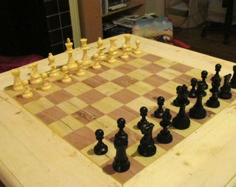 Hand made chess table, wood game table, custom chess, checker table, chess board