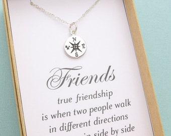 Best Friend Necklace, Best Friend Gift, Compass Necklace, Friendship Necklace, BFF Gift, Sister Gift, Sisters Necklace, Personalized Gi