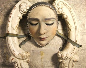 Pierrot, Wall Mask, Harlequin, Solemn Lady, Pierrot Mask, Hand-Sculpted Mask, Vintage Rhinestones, Pierrette Mask