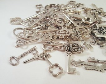 Antique Silver Mixed Keys Pendant Charm Grab Bag Mystery Lot