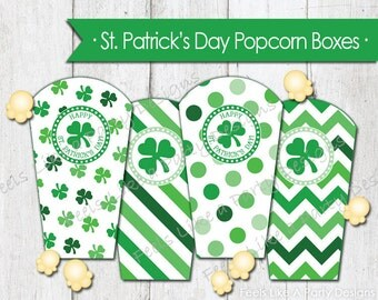 St. Patrick's Day Popcorn Boxes - Instant Download