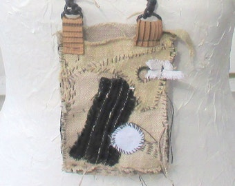 Flax pouch, linen pouch, amulet bag, small flax treasure, pouch necklace, Talisman Pouch,  hand-sewn pouch, boro pouch, purse Sashiko