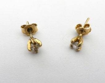 Diamante stud earrings, gold plated silver earrings, 925 silver fittings, tiny rhinestone,  3mm diameter, presentation box, jewellery gifts