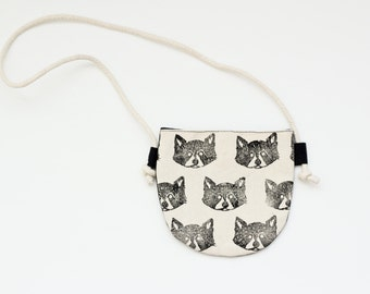MADE TO ORDER Monochromatic Woodland Raccoon Toddler Purse
