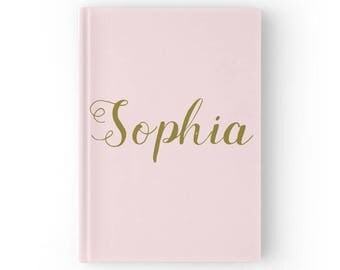 Personalized Blush Pink Gold Journal, custom journal, name notebook, name journal, pink gold journal, personalized journal, blush journal