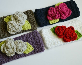 Crochet Earwarmer Flower Headband Winter Rose Headband Ear Warmer Photo Prop Custom Made Girl Toddler Women's