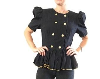 Black Peplum Blouse/ Gold Buttons / Ruffle Peplum Top/ Trendy Peplum Top/ Double Breasted Peplum Top/ Black Blouse/ Black Cotton Top