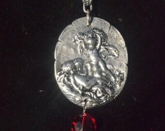 ON SALE 50% OFF Steampunk Genuine Ruby Pearl Repousse Necklace Chain Pendant Art Nouveau Natural Ruby Angel Cherub Putti Romantic Renaissanc
