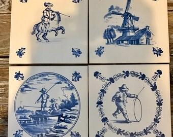 4 Delft Blue Ceramic Accent Decorative Tile, DIY, Art Projects, Mosaic Projects.