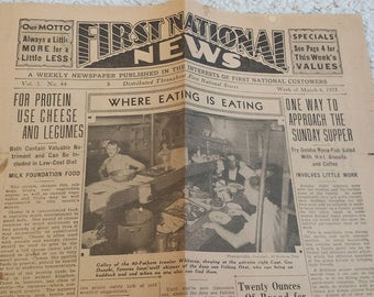 Vintage Advertising Newspaper, March 1933.  First National News.  Full Page Food Ad First National Stores