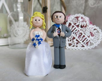Fimo Wedding Cake Toppers Bride and Groom Completely handmade To Order