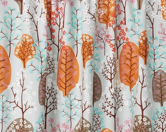 LINEN Curtain panel beige blue orange brown Trees Forest Decor Cafe curtain Kitchen valance , runner napkins available, great GIFT