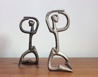 Pair Frederick Weinberg Brass Male Figures circa 1958