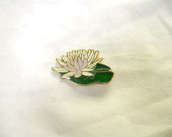 Water Lilly, Lotus Bloom Pin, Handmade, Hand Painted, Gold Plate, Lead Free