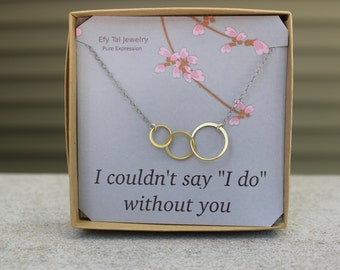 Two Tone Gold Triple Link Circles Necklace on Sterling Silver Chain on Bridesmaid Card in Gift Box