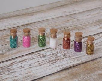 Fairy Garden Miniature Bottles of Fairy Dust - gnome, pixie, troll, succulent, glitter, dollhouse
