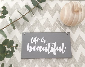 life is beautiful typography plaque wall hanging