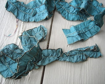 Edwardian Teal Ruched Ribbon with Metallic Thread Edge (Ref: A-1667 Box 1)