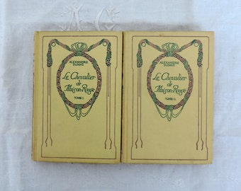 Le Chevalier de Maison-Rouge by Alexandre Dumas, a 2 volume book set of, vintage French novels published by Nelson in 1934, book bundle
