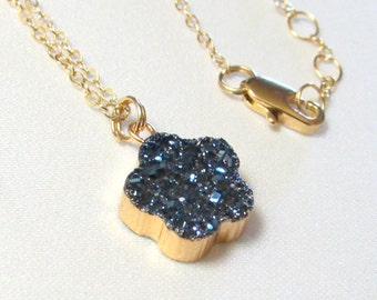 Flower Shaped Sapphire Blue Color Druzy on Gold Filled Necklace, Bridesmaid Gift, Wedding Necklace, Bridal Jewelry, Gift