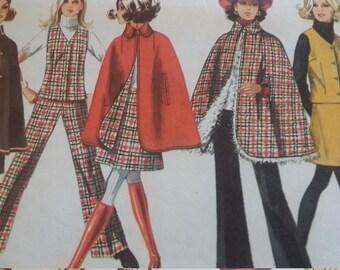 UNCUT and FF Pattern Pieces Vintage Simplicity 8353 Sewing Pattern Size 14 Cape, Vest, Skirt and Pants
