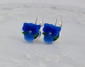 Violets Flower Earrings, Violet Earrings, Deep Blue Violets, Silver Violet Earrings, Pansy Earrings, Blue Violet, Flower Earrings, Violet