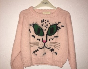 Vintage Pastel Pink Hand Knitted Cat Kitty Face Pattern Cropped Jumper Sweater Blogger Grunge