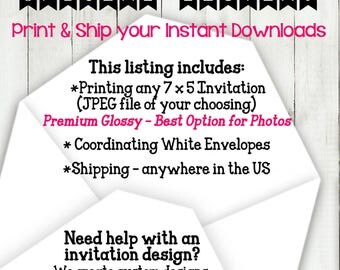 PRINT + SHIP custom invitations, files, photos, personalized signage, signs