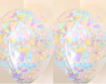 5 unicorn Confetti filled balloons for weddings babyshower birthdays parties 11""