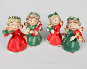 Vintage Commodore Japan Christmas Angel Musician Candleholders, Pair, Mid Century