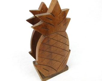 Vintage Hawaiian Pineapple Napkin / Letter Holder, Hand Carved, Tiki Chic