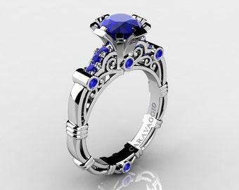 Caravaggio 14K White Gold 1.0 Ct Sri Lanka Blue Sapphire Engagement Ring R623-14KWGNBS
