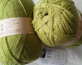 Light Green Moss Pond Solid Kauni RR10 2 ply wool sport weight yarn. Knit Crochet and Felt. Imported from Denmark. Ships from USA