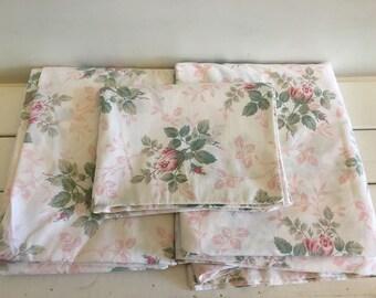 Vintage Dan River Pink Roses Sheet Set, Vintage Full Fitted and Flat Sheets, Double Vintage Bed Sheets, Vintage Bed Linens, Rose Buds