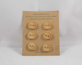 Wooden Buttons Handcrafted Eastern Red Cedar ~ Six Buttons