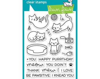 Lawn Fawn Clear Stamps - Meow You Doin, Cat