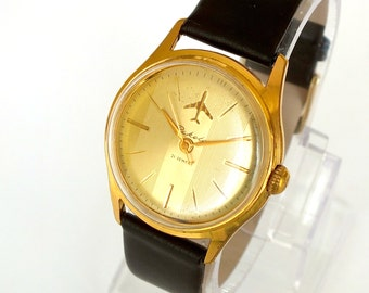 Soviet Pilots Watch RAKETA. Rare Mens Watch Raketa Plane 60s. Vintage Mechanical Watch For Men. Gold Plated Mens Watch.  Gift For Him.