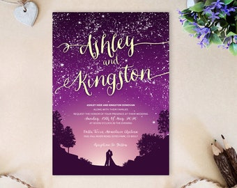 Under the stars wedding invitations | Starry night wedding invitations printed | Romantic Evening wedding | Mountain wedding invitations