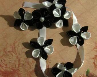 Black and White Kanzashi Flower Braid Barrette