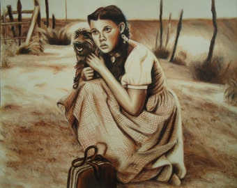 Original Wizard of Oz art - Colored pencil artwork - Rustic decor - Dorothy Gale - Judy Garland - Original artwork - Dorothy and Toto - Art