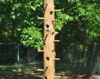 "Cedar log suet bird feeder, 36-1/2"" long"