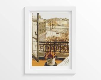 Cross Stitch Kit, Flowers in the Window Cross Stitch, Embroidery Kit, Art Cross Stitch, Theodor Pallady (PALLA01)