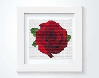 Cross Stitch Kit, Red Rose Cross Stitch, Embroidery Kit, Art Cross Stitch, Flower Series (TAS123)