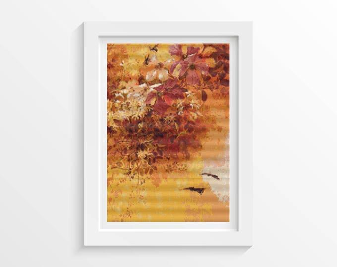 Cross Stitch Pattern PDF, Embroidery Chart, Art Cross Stitch, Floral Cross Stitch, Flowers and Insects by Paul de Longpre (LONG03)